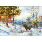 Cross stitch kit - Moose in a winter forest by V. L. Muravyov