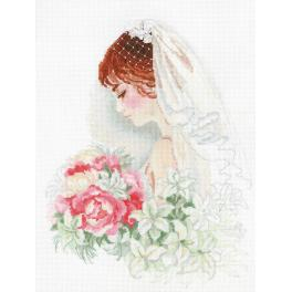 RIO 100/050 Cross stitch kit with mouline, beads and ribbons - Bride