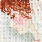 Cross stitch kit with mouline, beads end ribbons - Bride
