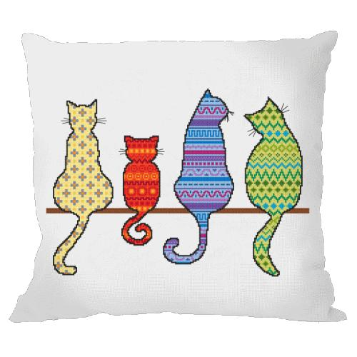 Cross stitch pattern - Pillow - Colourful cats