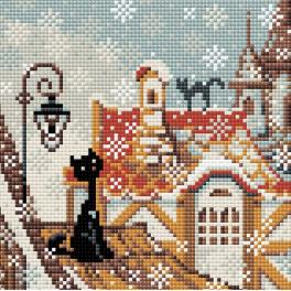 Diamond painting kit - Winter city and cats
