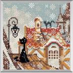 Diamond painting kit - Winter city and cats