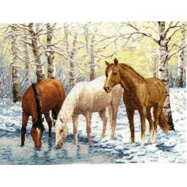 RZ 037 Cross stitch kit - Horses near the river