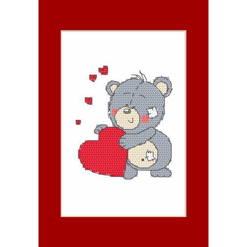 Cross stitch kit - Valentine's Day card - Teddy