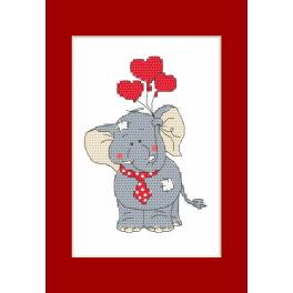 W 8795 Online pattern - Valentine's Day card - Elephant