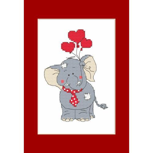 Cross stitch pattern - Valentine's Day card - Elephant