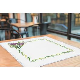 Cross stitch kit with mouline and napkin - Napkin - Early spring