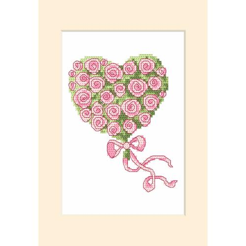 Cross stitch kit with a postcard - Greeting card - Little heart