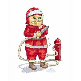 Cross stitch kit - Cat - fireman