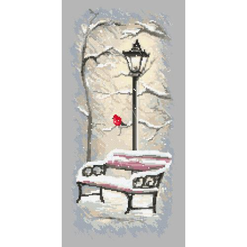 Cross stitch pattern - Winter bench