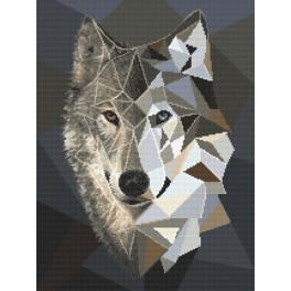 Cross stitch kit - Mosaic wolf