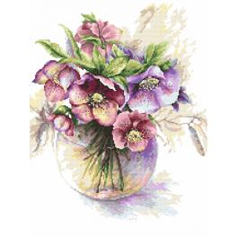 Kit with tapestry and mouline - Purple hellebores