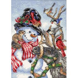DIM 8824 Cross stitch kit - Snowman & reindeer