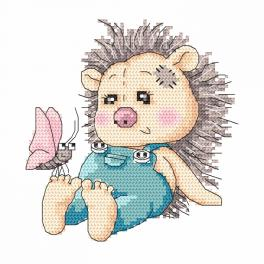 Cross stitch kit - Hedgehog with a butterfly