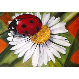 ZTDE 4649 Diamond painting kit - Chamomile and ladybird