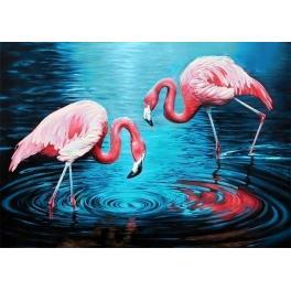 ZTDE 3442 Diamond painting kit - Flamingos on the lake