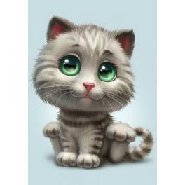 ZTDE 4669 Diamond painting kit - Green-eyed kitten