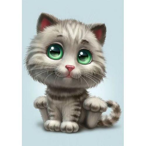 ZTDE 4669 Diamond painting kit - Green-eyed kitten