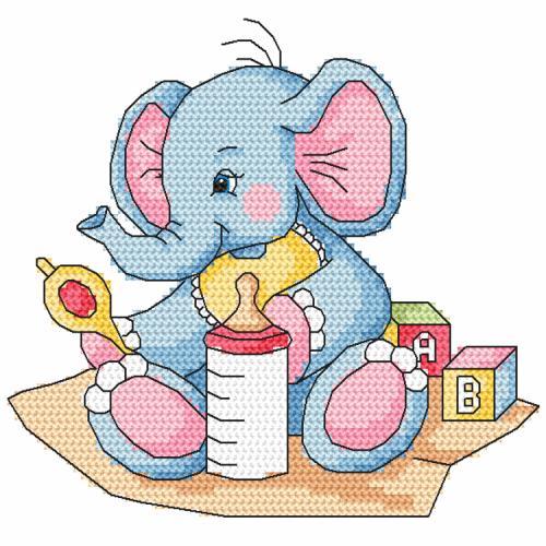 Cross stitch pattern - Blue elephant