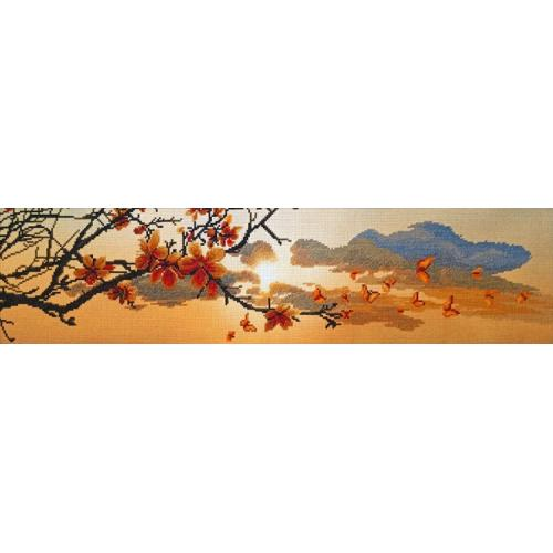 NCP 3229 Kit with mouline and printed background - Spring sunset
