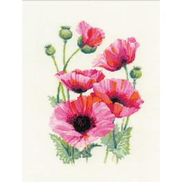 Cross stitch kit - Pink poppies