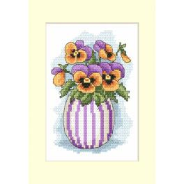 W 10205-01 Pattern ONLINE - Postcard with pansies