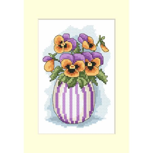 Cross stitch kit - Postcard with pansies
