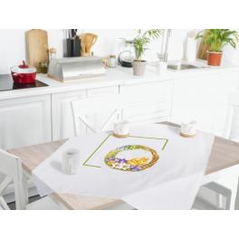 Cross stitch kit - Tablecloth with a spring wreath