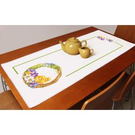 Cross stitch kit with a runner - Table runner with a spring wreath