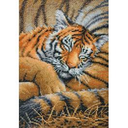 Cross stitch kit - Cozy cub tiger