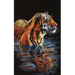 Cross stitch kit - Tiger chilling out