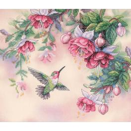 Kit with mouline and printed background - Hummingbird and fuchsias