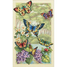 Cross stitch kit - Butterfly forest