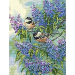 Cross stitch kit - Chickadees and lilacs