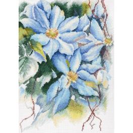 Cross stitch kit - Blue clematis stars