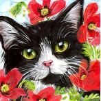 WD292 Diamond painting kit - Cat in flowers