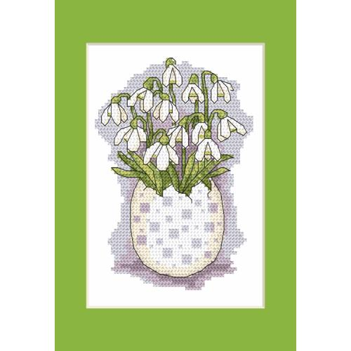 Pattern ONLINE - Postcard with snowdrops