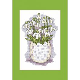 Cross stitch pattern - Postcard with snowdrops