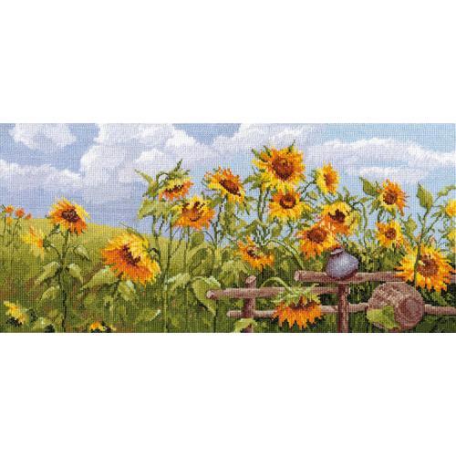 Cross stitch kit - Outskirts with sunflowers