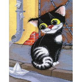 OV 1035 Cross stitch kit - Spring cat