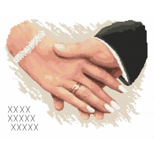 Set with tapestry and mouline - Wedding memory - Hands