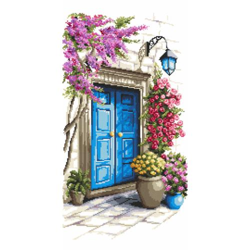 Cross stitch kit with mouline and beads - Mysterious door