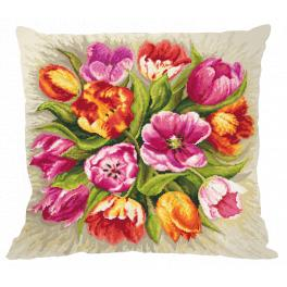 Cross stitch kit - Pillow - Charming tulips