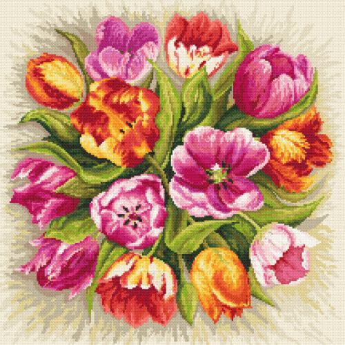 Cross stitch pattern - Charming tulips