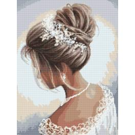 Cross stitch kit with mouline and beads - Lady in white