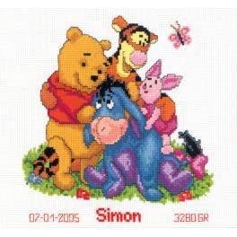 VPN-0014846 Cross stitch kit - Birth certificate - Winnie & friends