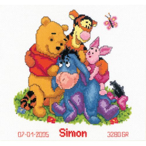 Cross stitch kit - Birth certificate - Winnie & friends