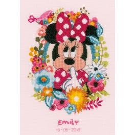 Cross stitch kit - Birth certificate - Minnie shushing