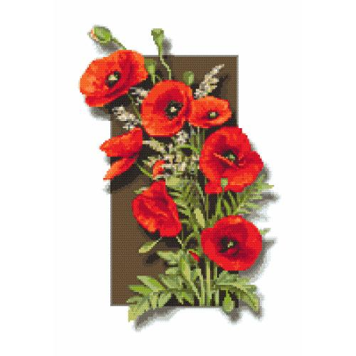 Kit with tapestry and mouline - Delicate poppies 3D