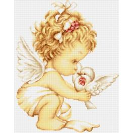 Cross stitch kit - Angel with pigeon